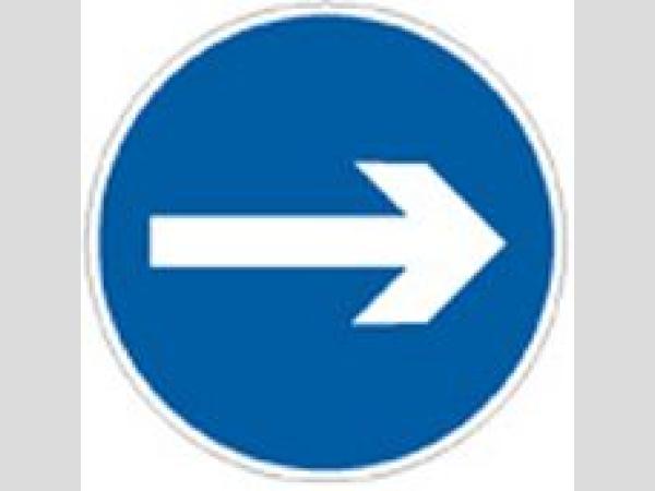 Mantra a kötelező haladási irány táblákhoz