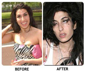 Amy Winehouse a droghasználat elkezdése előtt és évekkel az után